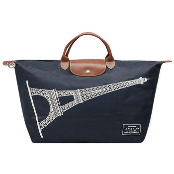 LONGCHAMP 巴黎鐵塔紀念款摺疊購物包(大-深藍)