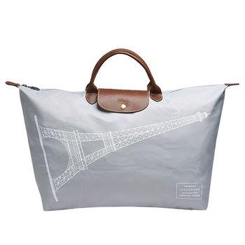 LONGCHAMP 巴黎鐵塔紀念款摺疊購物包(大-淺灰色)