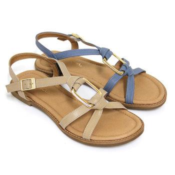 【GREEN PHOENIX】輕鬆漫步交叉扭轉方形金屬全真皮平底涼鞋-藍色、杏色