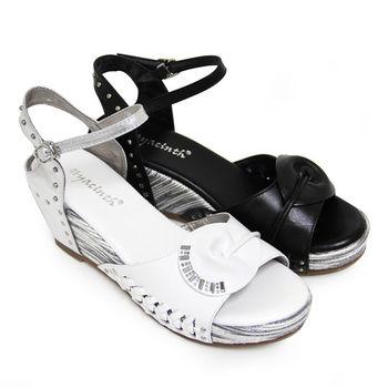 【GREEN PHOENIX】抓皺壓克力水鑽金屬釘扣編織鏤空全真皮撞色楔型涼鞋-白色、黑色