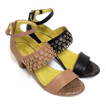 【BIS-VITAL】 垂墜流蘇金屬圈圈繞踝頂級小羊皮粗高跟涼鞋-粉紅色、黑色