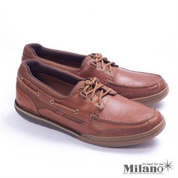 【Rockport】生活舒適船型休閒鞋-棕
