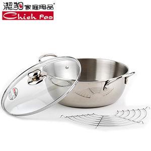 【潔豹不鏽鋼】MIT台灣製ST炸煮多功能通用鍋(2.5L_24CM)