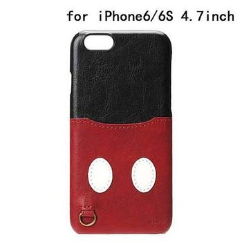 iJacket 迪士尼 iPhone 6/6s 4.7吋 皮革 可儲卡硬式保護殼 - 米奇屁屁