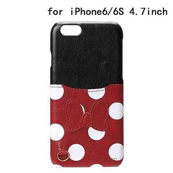 iJacket 迪士尼 iPhone 6/6s 4.7吋 皮革 可儲卡硬式保護殼 - 米妮屁屁
