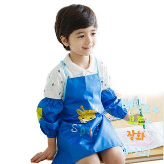 窩自在★可愛長頸鹿卡通造型防水防髒環保罩衣畫畫衣-深藍色