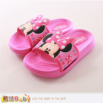 魔法Baby 女童拖鞋 迪士尼米妮正版拖鞋~sh9803