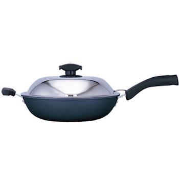 【日本寶馬】黑瓷釉不沾單把炒鍋 32cm JA-A-008-032