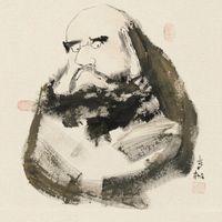 柳青松大師親簽 版畫 ^#45 達摩
