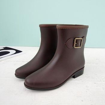 《DOOK》都會風格氣質短筒雨靴-深棕色