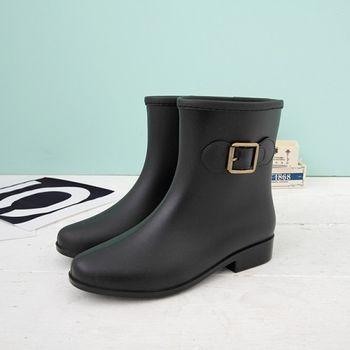 《DOOK》都會風格氣質短筒雨靴-黑色