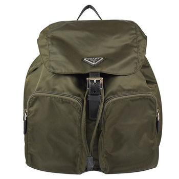 PRADA 1BZ005 經典三角LOGO尼龍帆布束口後背包.墨綠(大)
