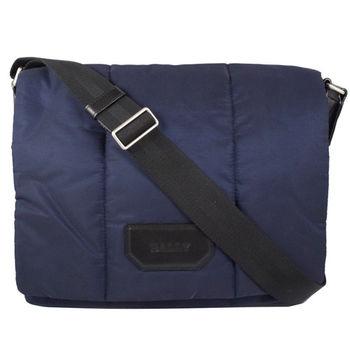 BALLY 經典LOGO厚尼龍織帶翻蓋斜背包.深藍