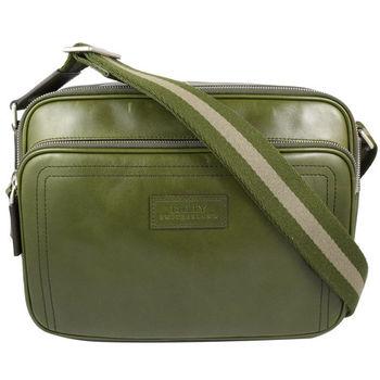 BALLY 6199635 經典雙色織帶小牛皮雙層斜背包.墨綠