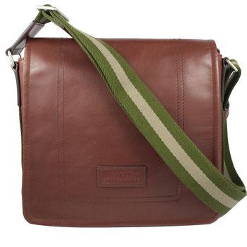 BALLY 6199605 經典雙色織帶小牛皮翻蓋斜背包.深咖