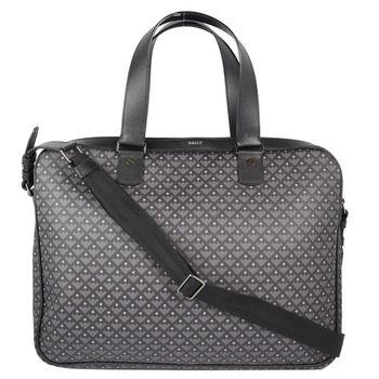 BALLY 6199411 經典LOGO圓點格紋附斜背手提袋.黑