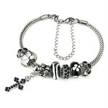【米蘭精品】潘朵拉元素手鍊925純銀琉璃飾品個性十字架黑白系列73ay150