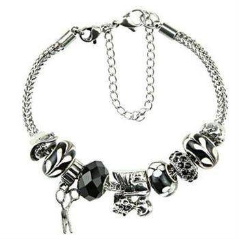 【米蘭精品】潘朵拉元素手鍊925純銀水晶琉璃飾品可愛小剪刀黑色系列73ay175
