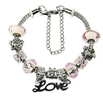 【米蘭精品】潘朵拉元素手鍊925純銀水晶琉璃飾品粉紅系列時尚甜美73ay180