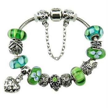 【米蘭精品】潘朵拉元素手鍊925純銀琉璃飾品綠色系列時尚清新73ay218