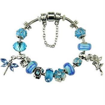 【米蘭精品】潘朵拉元素手鍊925純銀水晶琉璃飾品清新藍色系列小蜻蜓73ay241