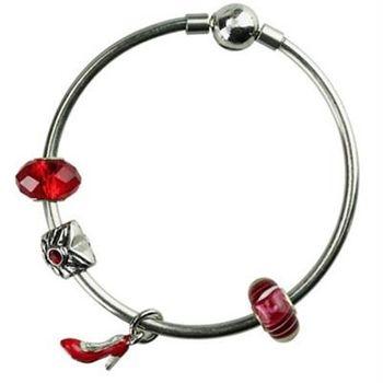 【米蘭精品】潘朵拉元素手鍊925純銀水晶琉璃飾品時尚性感紅色高跟鞋73ay259