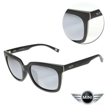 【MINI】偏光水銀灰黑銀邊 亮黑框太陽眼鏡(A M38018-007P)
