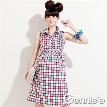 Gennie's奇妮】仿襯衫式配色格紋春夏孕婦背心洋裝-紅格紋(G1324)