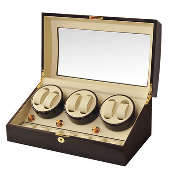 WISH 機械腕錶自動上鍊盒‧13只裝-胡桃木鋼烤 (B038-EW)