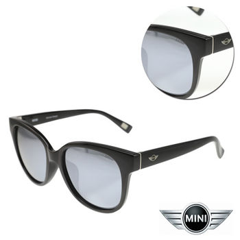 【MINI】偏光方形水銀灰黑亮黑框太陽眼鏡(A M38008-007P)