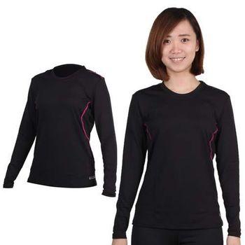 【FIRESTAR】女A1保暖衣-圓領 長袖T恤 黑桃紅