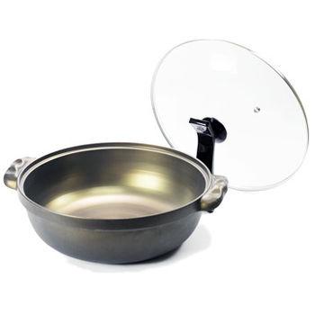 【御膳坊】黃金鑄造湯鍋(30cm)附站立鍋蓋 贈送 法國 LUMINARC 樂美雅 SP-1603 強化餐具5件組