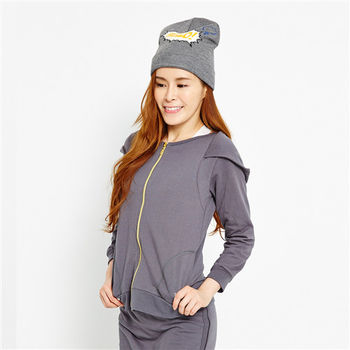 TOP GIRL氣質女伶剪接設計連帽長袖外套-共二色