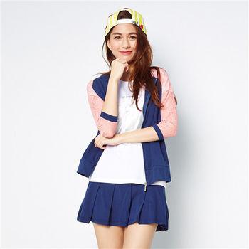 TOP GIRL 蕾絲甜心女孩連帽七分袖外套-共二色