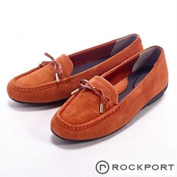 【Rockport】都會休閒麂皮蝴蝶結莫卡辛女鞋-橘