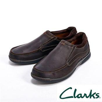 【Clarks】Randle Free休閒直套式皮鞋男鞋-深咖