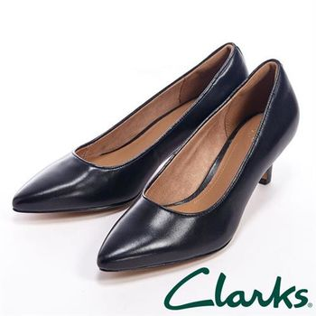 【Clarks】SAGE COPPER 尖頭中跟鞋女鞋-黑