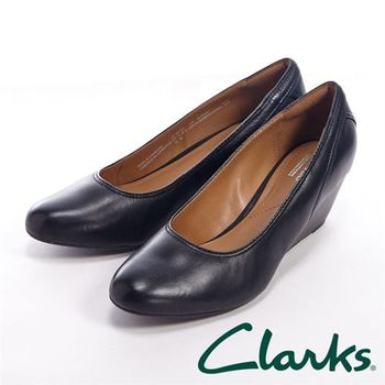 【Clarks】BRIELLE JUNE上班族皮革楔鞋中跟女鞋-黑