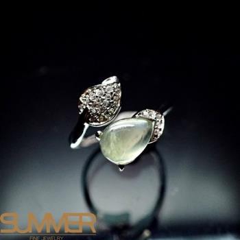 【SUMMER寶石】天然財運寶石葡萄石柔美戒指(925銀) (AE-3)