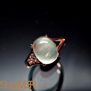 【SUMMER寶石】天然財運寶石葡萄石柔美戒指(925銀玫瑰金色) (AE-8)