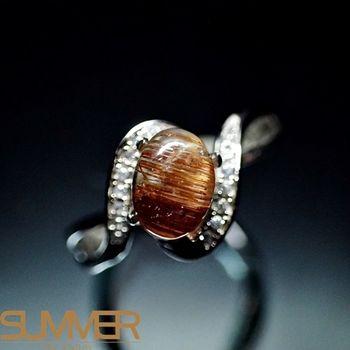 【SUMMER寶石】天然招財吸金鈦晶設計款戒指(925銀玫瑰金色)