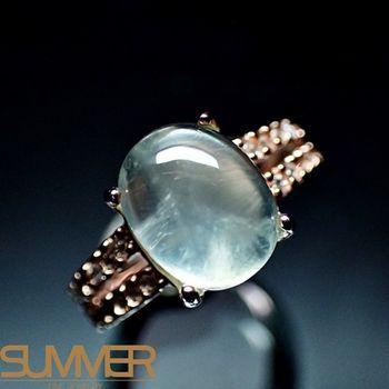 【SUMMER寶石】天然財運寶石葡萄石柔美戒指(925銀玫瑰金色) (AE-6)
