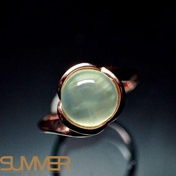 【SUMMER寶石】天然財運寶石葡萄石柔美戒指(925銀玫瑰金色) (AE-10)