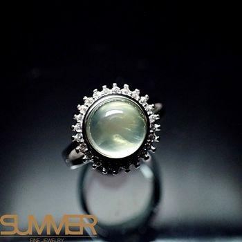 【SUMMER寶石】天然財運寶石葡萄石柔美戒指(925銀) (AE-1)