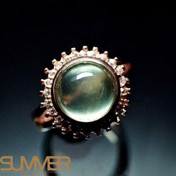 【SUMMER寶石】天然財運寶石葡萄石柔美戒指(925銀玫瑰金色) (AE-4)