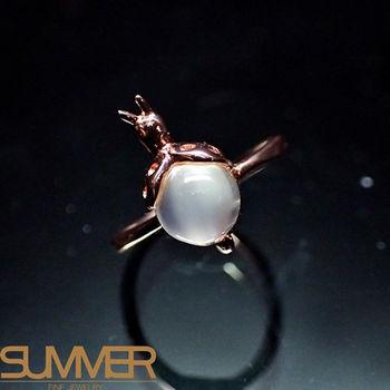 【SUMMER寶石】天然嚴選月光石戒指(925銀玫瑰金色) (AC-2)