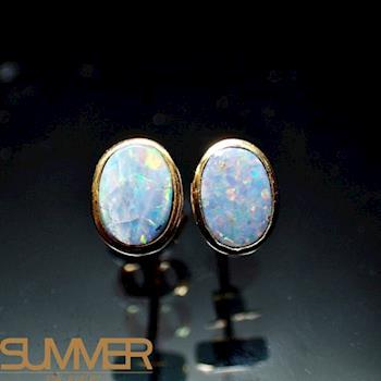 【SUMMER寶石】天然澳洲國寶蛋白石耳環(時尚設計款-925銀玫瑰金色-276)
