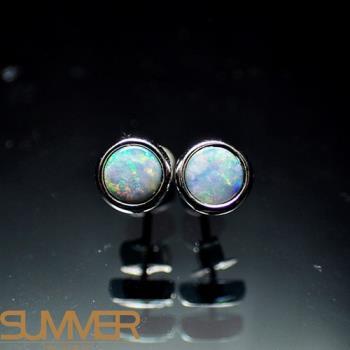 【SUMMER寶石】天然澳洲國寶蛋白石耳環(時尚設計款-925銀-071)