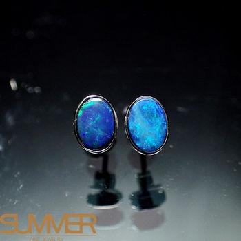 【SUMMER寶石】天然澳洲國寶蛋白石耳環(時尚設計款-925銀-156)