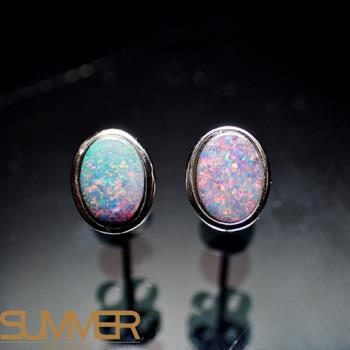 【SUMMER寶石】天然澳洲國寶蛋白石耳環(時尚設計款-925銀-001)